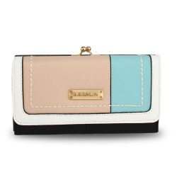 Pink, blue and white purse