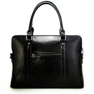 Ladies black real leather briefcase