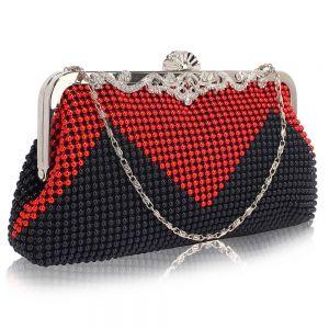 Black & Red beaded crystal clutch bag